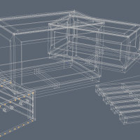 3D-016 Wooden Crates_Wireframe
