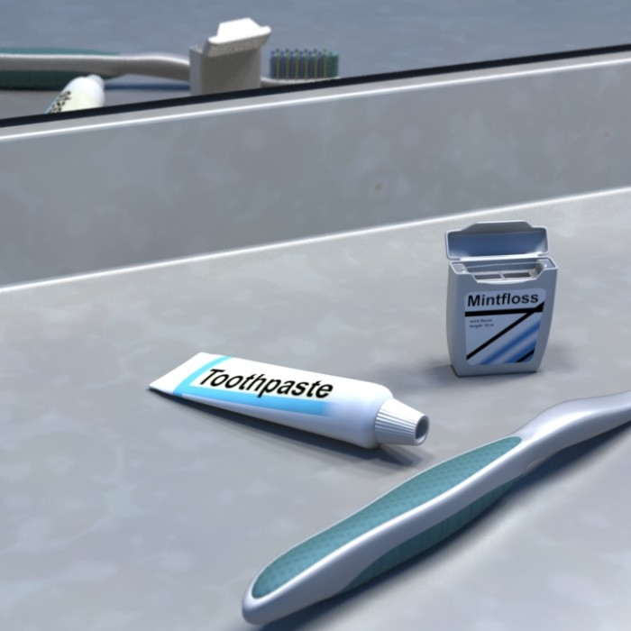 3D-023 Toothbrush and Dental Floss