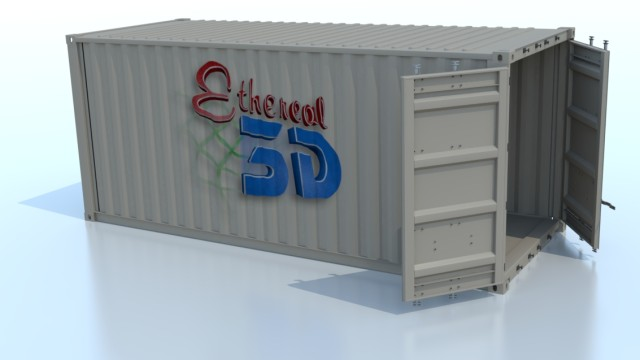 Shipping container render in modo