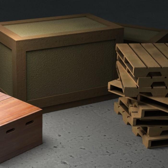 3D-016 Wooden Crates