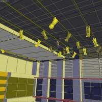 3D model wireframes - lighting in news studio